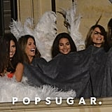 Adriana Lima, Alessandra Ambrosio, Lily Aldridge, and Behati Prinsloo tried to stay warm with a blanket.