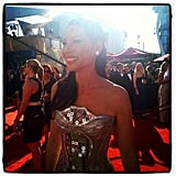 Lucy Lui modelled a metallic gown on the red carpet.  Source: Instagram user instylemagazine