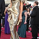 Stacy strikes a pose in Marchesa on the Academy Awards red carpet.