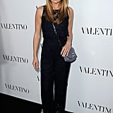 Cat Deeley was equal parts sporty and chic in a jumpsuit with a pretty lace inset. Metallic heels and a Mulberry crossbody bag finished off her evening attire.