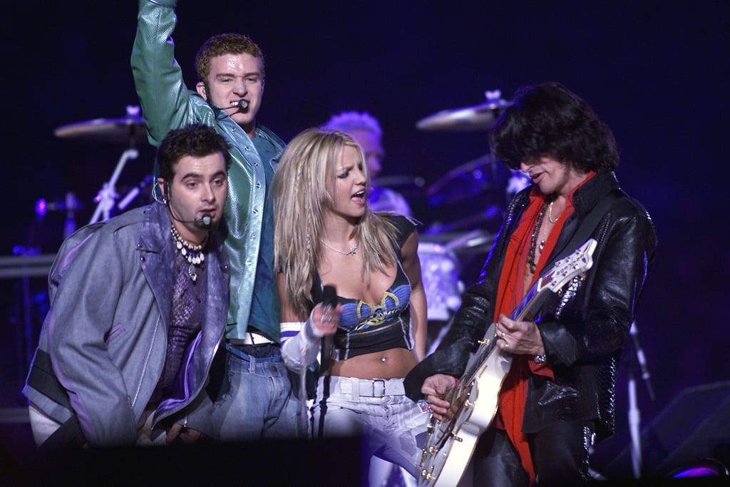 """Amid news of Justin Timberlake's upcoming Super Bowl performance, there's been plenty of buzz over the last time he hit the Super Bowl stage with Janet Jackson — but that's not the only time he's been in the halftime spotlight. Back in 2001, JT made his big Super Bowl debut with *NSYNC. After a brief skit with Ben Stiller, the group opened with """"Bye Bye Bye"""" before Aerosmith played """"I Don't Want to Miss a Thing."""" Then it was back to *NSYNC with """"It's Gonna Be Me,"""" which transitioned into Aerosmith's """"Jaded"""" before the final, unforgettable spectacle: """"Walk This Way"""" featuring Nelly, Mary J. Blige, and Britney Spears, who wore a sock on her arm. So 2001, right? Keep reading to watch a video of the halftime show, then relive the memorable moments in pictures.       Related:                                                                                                           Will *NSYNC Perform With Justin Timberlake at the Super Bowl? Let's Investigate"""