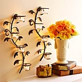 Hosley Leaf Candle Holder Wall Sconce Plaque Set