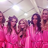 Karlie Kloss posed for a photo with her fellow Angels backstage at the Victoria's Secret Fashion Show. Source: Karlie Kloss on WhoSay