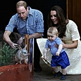 William, Kate, and George shared a cute family moment at the Taronga Zoo in Australia in April 2014.