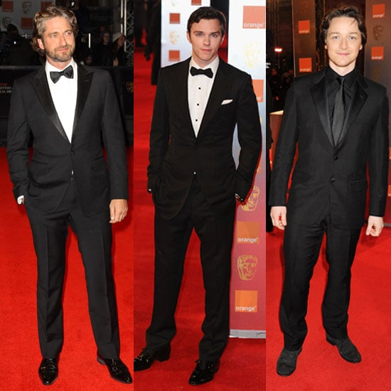 pictures of men on baftas red carpet including james