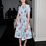 We recommend picking a floral fit-and-flare dress, just like Emmy Rossum's gorgeous number, and pumping up the volume via colorblocked footwear.