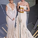 Jennifer Lopez and Cameron Diaz presented an award together in nude-colored gowns during the show.