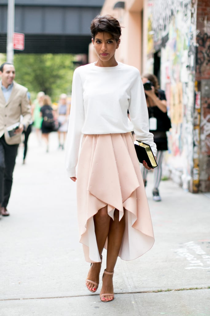 A simple sweater to top a not-so-simple skirt.