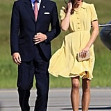 Prince William looked dapper in a navy suit.