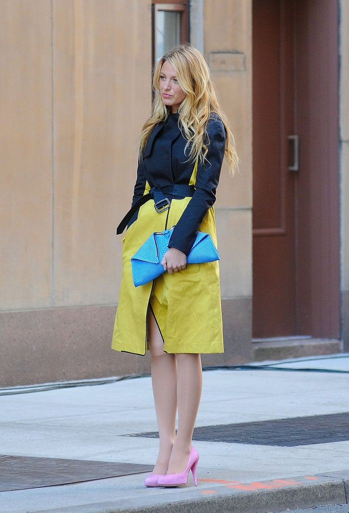 Serena van der Woodsen Wearing a Blue Jacket With a Pop of Colour
