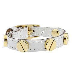 CC SKYE Leather Screw Bracelet (White Patent) - Bracelets