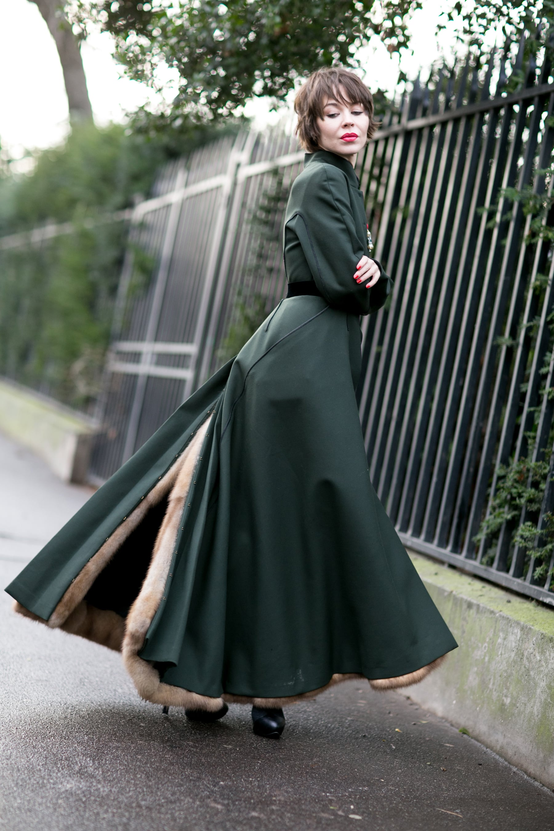 Ulyana Sergeenko showed off her street style couture with a romantic twirl.