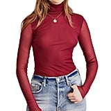 Free People Double-Layer Mesh Turtleneck