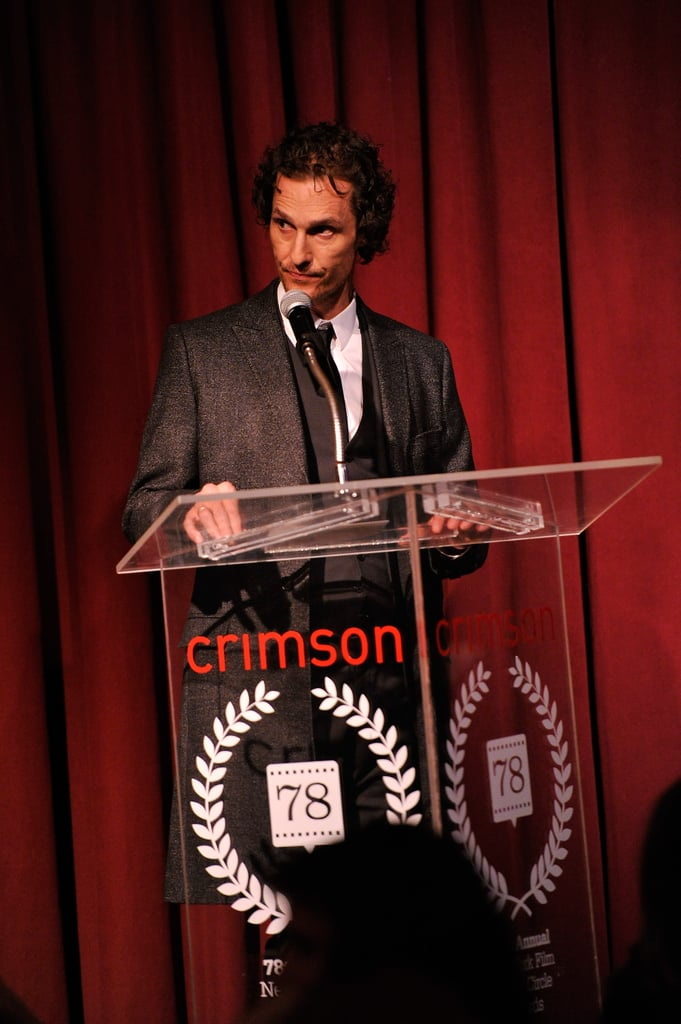Matthew McConaughey spoke onstage at the NY Film Critics Circle Awards.