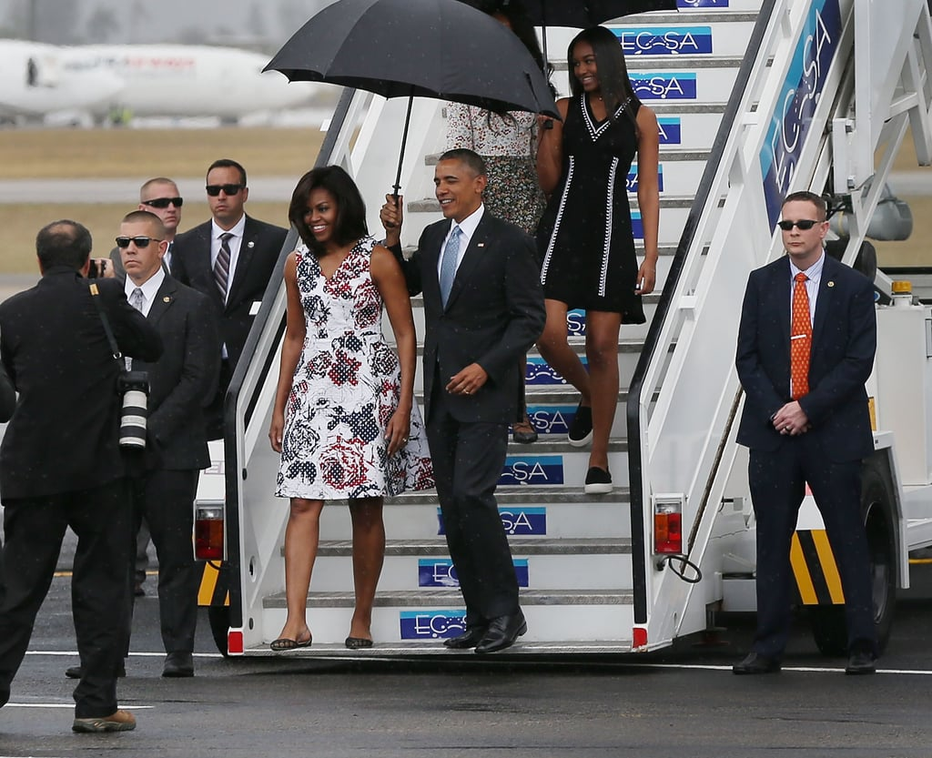 Barack joined the prints party too — he wore a polka-dot tie.