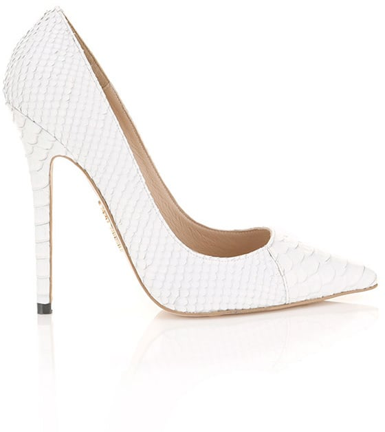 House Of CB 'Paris' White Faux Snake Skin Point Toe Heels (£120)