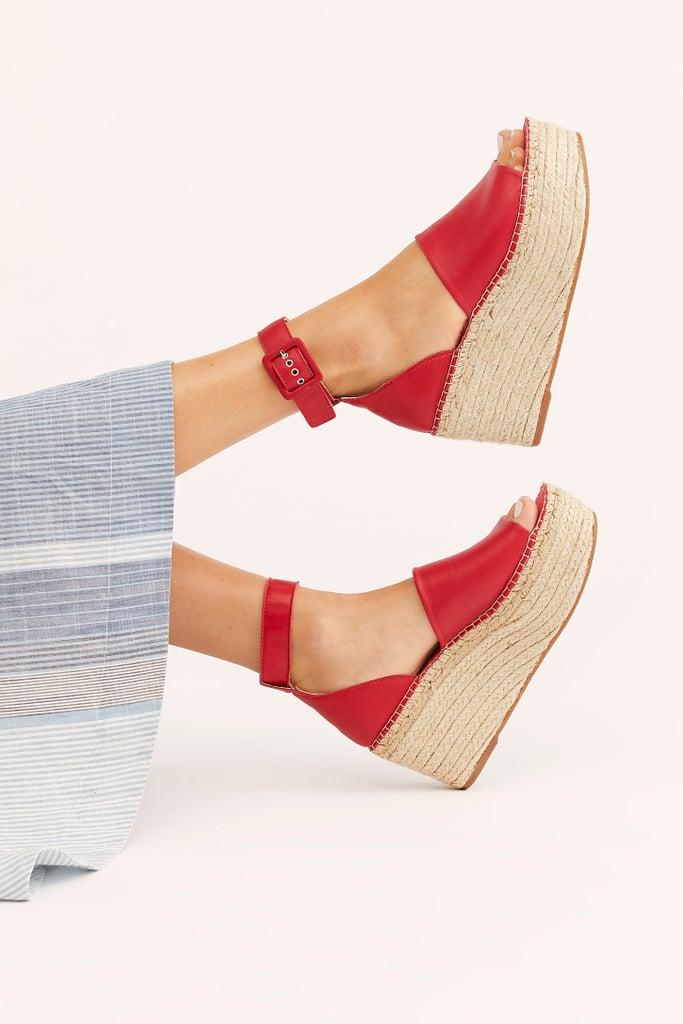 FP Collection Coastal Platform Wedge Sandals