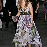 Princess Beatrice in a long, floral gown.