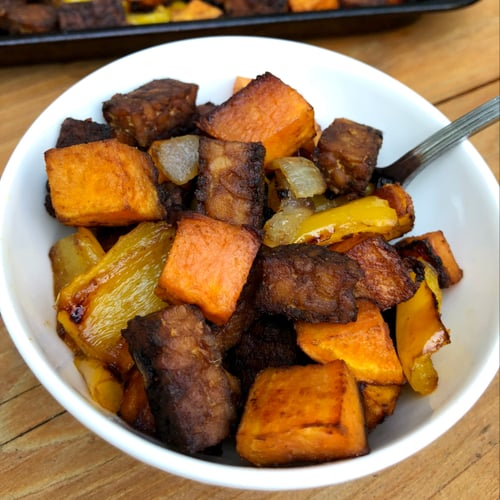Maple-Ginger Roasted Tempeh, Sweet Potato, Pepper, and Onion 1-Pan Meal