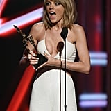 Taylor showed her excitement while picking up the Billboard chart achievement award in May 2015.