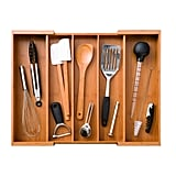 Bamboo Compartment Adjustable Cutlery-Drawer Tray Organizer