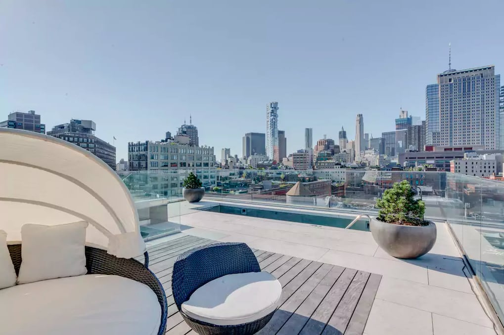 "Kim Kardashian and Kanye West are living good in New York City! After heading to New York for the MTV Video Music Awards last weekend, the entire West family unpacked their bags at this gorgeous $30 million penthouse, where they will be staying for the next few months, courtesy of Airbnb.  The 35-year-old beauty is already loving their new NYC space, calling it her ""home away from home"" on Instagram.               View this post on Instagram                      A post shared by Kim Kardashian West (@kimkardashian) on Aug 30, 2016 at 9:19am PDT    While Kanye continues his Saint Pablo Tour across North America, Kim, North, and Saint will be living in this five-bedroom, six-bathroom, three-story penthouse with insane views of the Hudson River. The penthouse is equipped with all of the over-the-top amenities you could think of, including an outdoor kitchen, sauna, home gym, private pool, and glam room for Kim. There's even a separate play area for the kids to hang out in! Check out all the photos of the luxurious Airbnb that Kim and the family are staying in for the next few months, and stay tuned into her Snapchat for some beautiful rooftop photos.      Related:                                                                See Inside the Luxurious Airbnb Kylie Jenner Stayed In For Her Birthday                                                                   Dangerous Curves Ahead: Over 60 of Kim Kardashian's Hottest Swimsuit Photos                                                                   All the Insane Things You Never Knew the Kardashians Had in Their Glam Rooms"