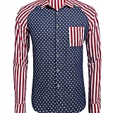 Coofandy Men's American USA Flag Button Down Shirt Patriotic Casual Long Sleeve Shirt