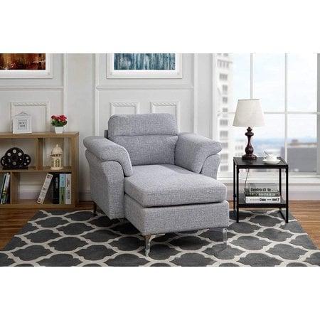 Modern Living Room Linen Fabric Chaise Lounge