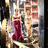 Jessica Chastain and Jennifer Garner headed off stage at the 2013 Oscars.