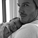 """David posted a black-and-white throwback picture of his little girl on her fourth birthday, saying, """"Possibly my favourite picture of Harper of all time . . . 4 beautiful years with the most amazing little girl . . . Happy birthday big girl . . ."""""""