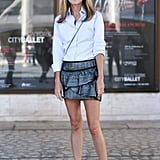 A ruffled mini worked for day with a menswear-style button-down.