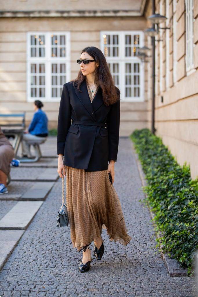 Fall Outfit Idea: Blazer + Maxi Skirt + Flats