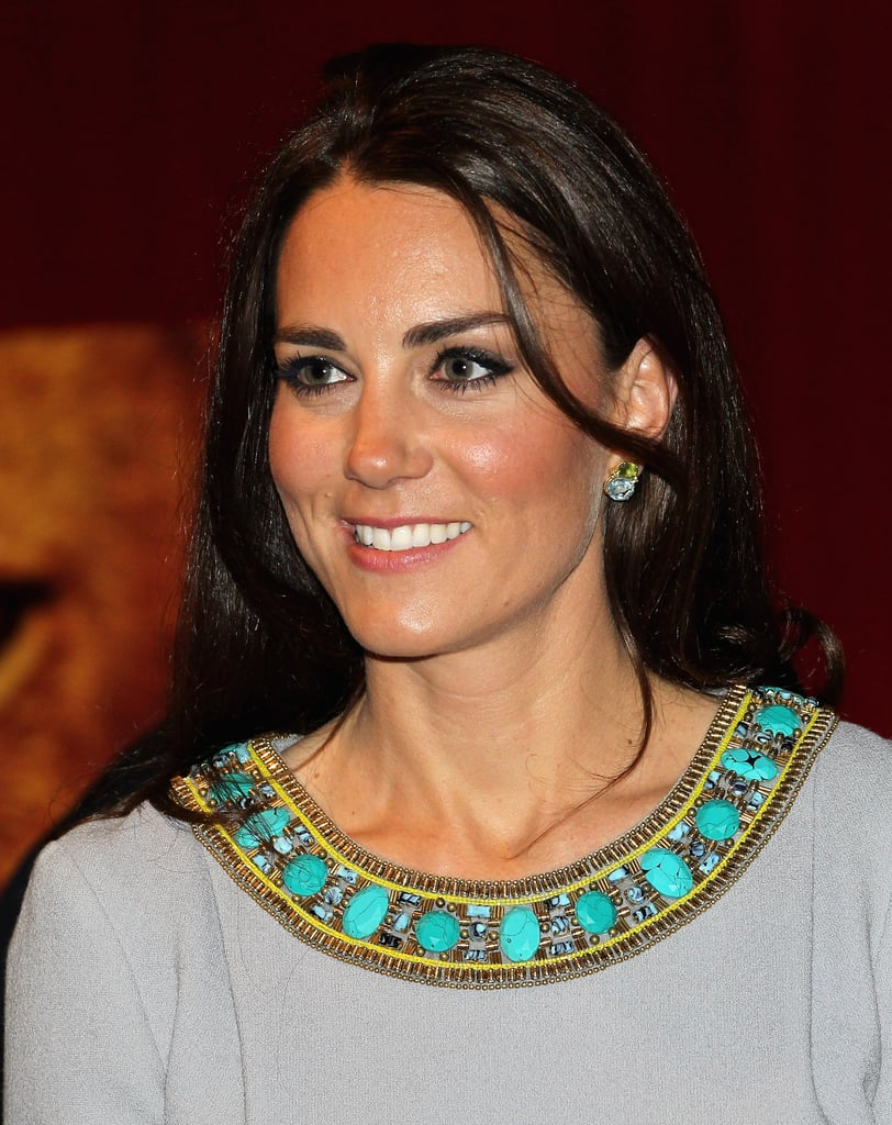 Kiki's green peridot and blue topaz cushion cut earrings were customized for Kate, and she wore them to the African Cats premiere in 2012.
