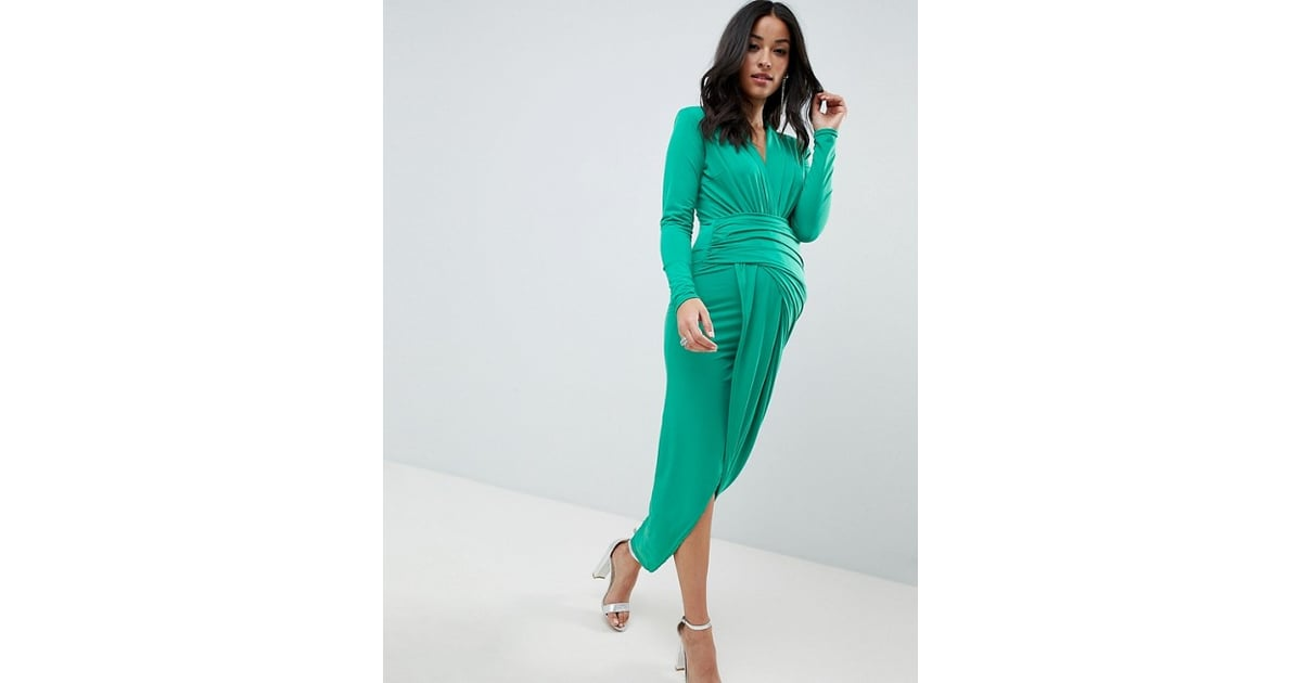 bfb672073f381 Queen Bee Plunge Front Wrap Maxi Dress in Green | Black Tie ...