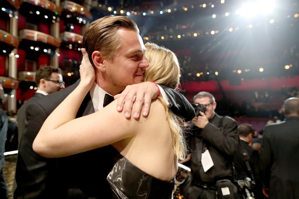Leo got a giant hug and kiss from his BFF Kate Winslet.
