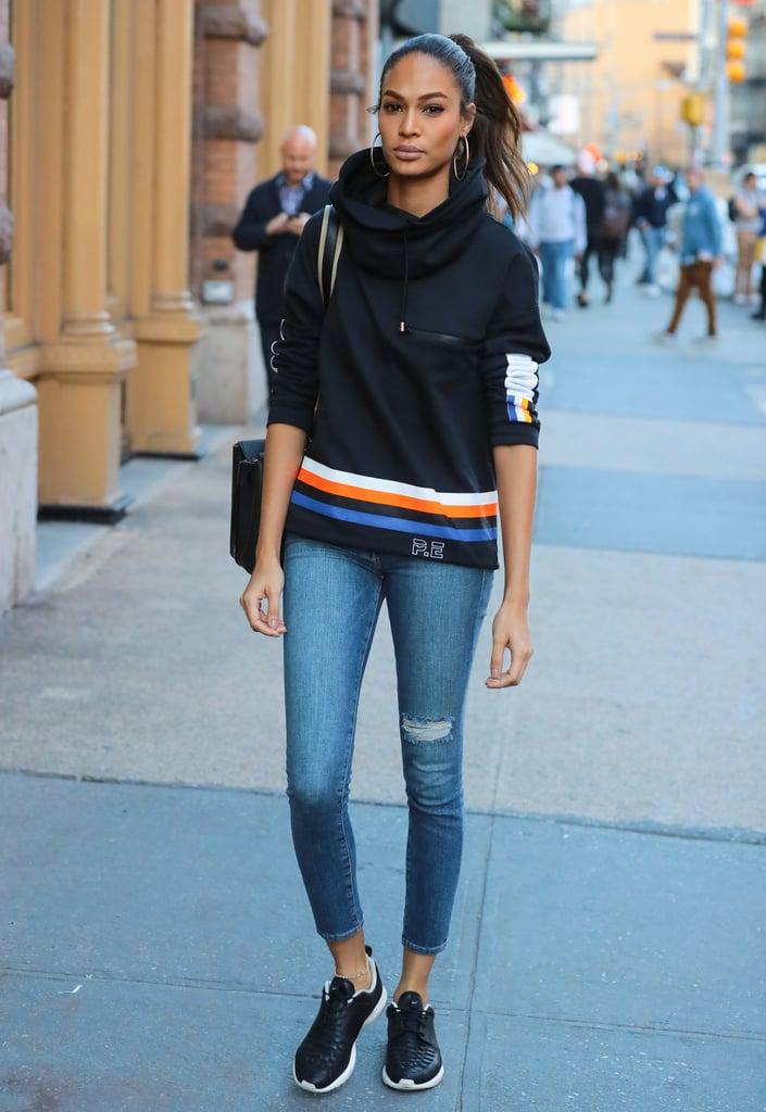 Joan Smalls's P.E Nation Sweatshirt Street Style Oct. 2016