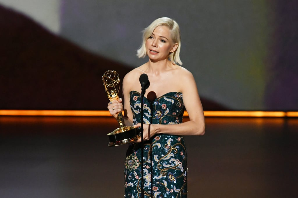 "Michelle Williams took home the award for outstanding lead actress in a limited series or movie for Fosse/Verdon at Sunday night's Emmys, and her powerful acceptance speech deserves a trophy of its own. While speaking on stage, the 39-year-old actress called out the gender pay gap and spoke about the importance of equal pay for women.  ""When you put value into a person, it empowers that person to get in touch with their own inherent value, and then where do they put that value?"" Williams said. ""The next time a woman, and especially a woman of color, because she stands to make 52 cents on the dollar compared to her white male counterparts, tells you what she needs in order to do her job, listen to her, believe her, because one day she might stand in front of you and say thank you for allowing her to succeed because of her workplace environment — and not in spite of it."" Williams then concluded her speech by dedicating her award to her 13-year-old daughter, Matilda Ledger, whom she shared with the late Heath Ledger.  Williams's impassioned speech comes amid the #NotWorthLess movement that sparked on Twitter recently after writer Adele Lim walked away from the Crazy Rich Asians sequel following a pay dispute. As a result, several women in Hollywood shared their own experiences with pay inequity to bring awareness to the issue.  Watch Williams's speech ahead!       Related:                                                                                                           Presenting the Full List of This Year's Emmy Winners"