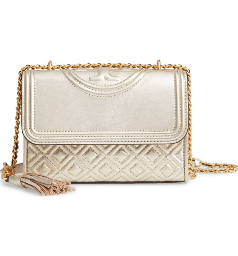 bf1ea77469b Tory Burch Small Fleming Metallic Lambskin Leather Convertible Shoulder Bag