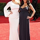 Kim posed with her sister Kourtney at the Emmys in LA in September 2009.