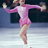 Harding performing at the Skate America figure skating competition in 1991.
