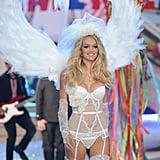 Lindsay Ellingson wore white on the Victoria's Secret Fashion Show runway.