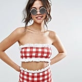 Or choose this red Asos Gingham Frill Bandeau Bikini Top ($28).