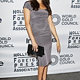 In September 2012, Meghan wore a grey dress to the Hollywood Foreign Press Association Party.