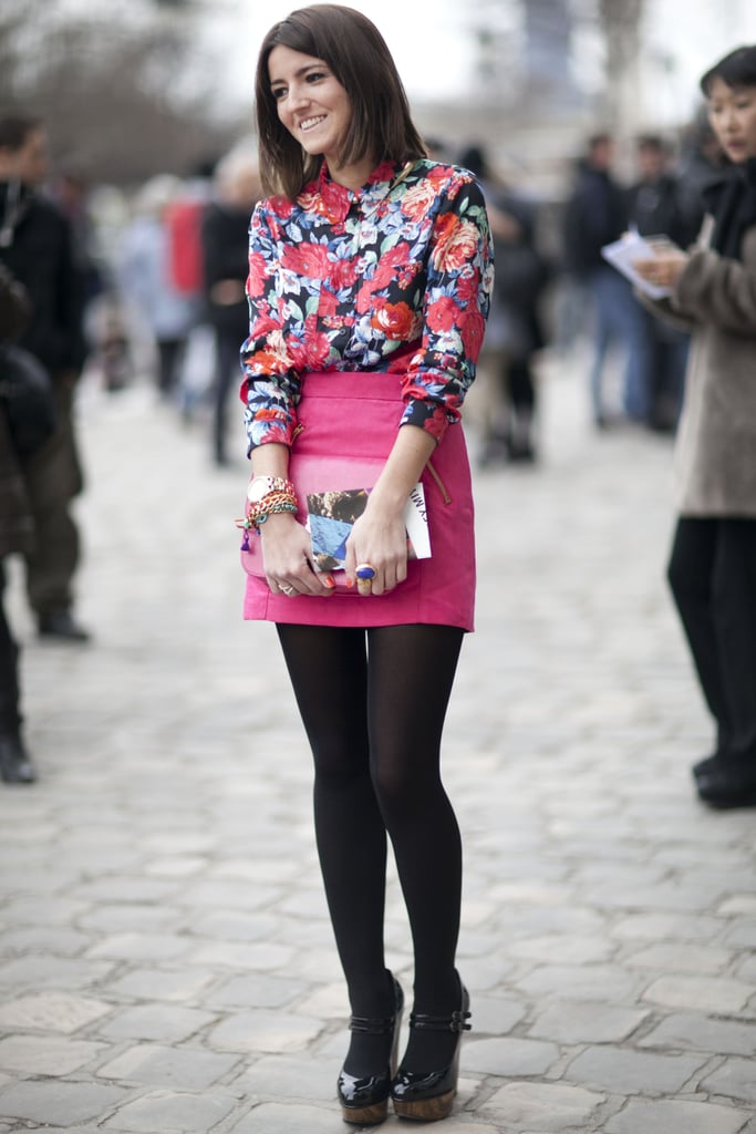Sweet florals and a pretty palette feel fresh against black tights.