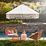 Natural Replacement Umbrella Canopy With Fringe