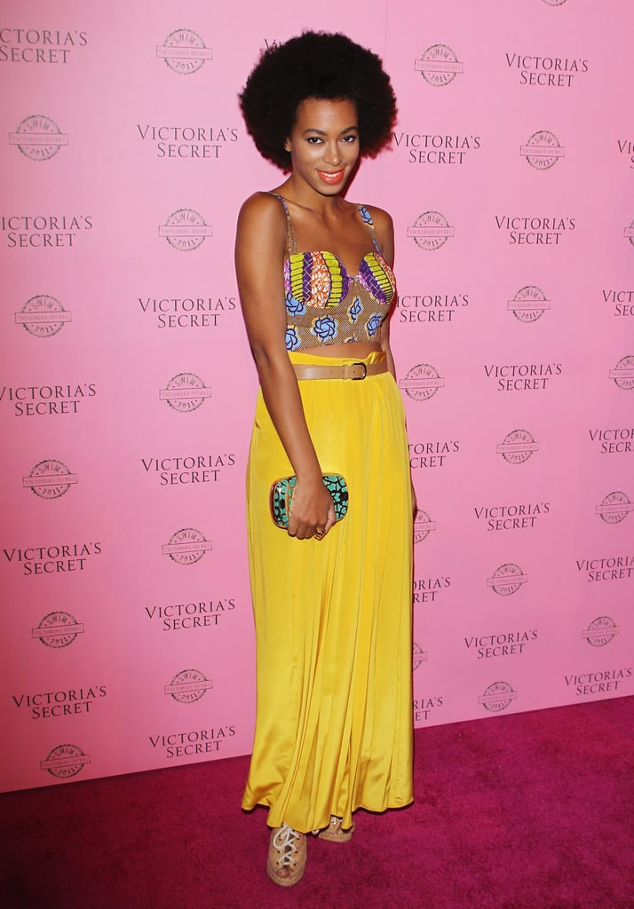 Solange was ahead of the crop top trend, donning a printed bustier with a flowing yellow maxi skirt and lace-up espadrilles at a 2011 Victoria's Secret party in West Hollywood.