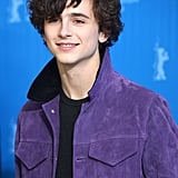 Timothée wore a purple Berluti suede jacket to the Berlinale International Film Festival in 2017.