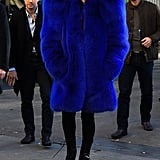 Lady Gaga in a Structured Saint Laurent Fuzzy Coat