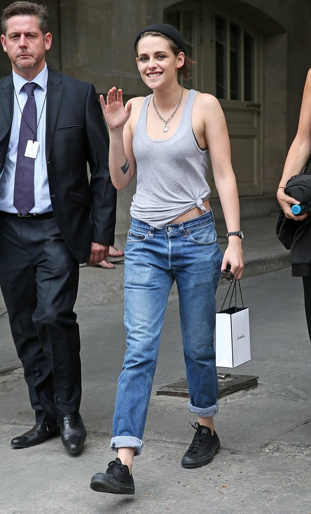 Kristen Stewart flashed a big smile when she arrived at the Chanel Haute Couture show in Paris on Tuesday. Wearing jeans and a tank, the actress waved to the cameras as she made her way to the Grand Palais, later slipping into a chic outfit for the show. There were several celebrities at Chanel's stunning show, which had a casino theme. At one point, Kristen and her Still Alice co-star Julianne Moore sat down at one of the blackjack tables together. Keep reading for the best pictures of Kristen's time in Paris, then see photos of Kristen and Alicia Cargile's latest outing in LA.