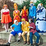 Flame Princess, Flame Prince, Ice King, Ice Queen, Finn, Jake, and Marshall Lee